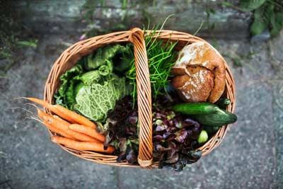 country pantry basket of produce and bread